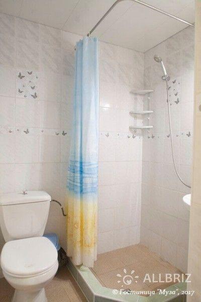 1 комнатный 2х местный стандарт без балкона - санузел с унитазом и душем