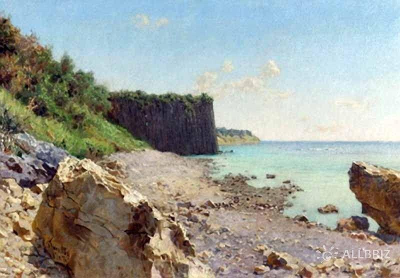 Картина А. Киселева «Прибрежные скалы. Мыс Кадош близ Туапсе»